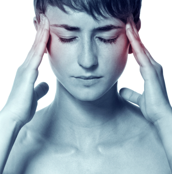 Migraine. Young attractive woman with an awful migraine
